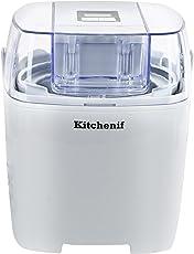 Kitchenif Digital Ice Cream, Sorbet, Slush & Frozen Yoghurt Maker Capacity 1.5 Liters (White)