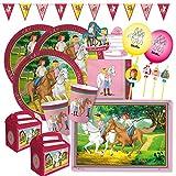 69-teiliges Party-Set - Bibi und Tina - Teller Becher Servietten Platzsets Wimpelkette Einladungen Trinkhalme Luftballons Partyboxen für 6 - 8 Kinder