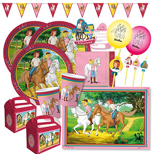 (69-teiliges Party-Set - Bibi und Tina - Teller Becher Servietten Platzsets Wimpelkette Einladungen Trinkhalme Luftballons Partyboxen für 6 - 8 Kinder)
