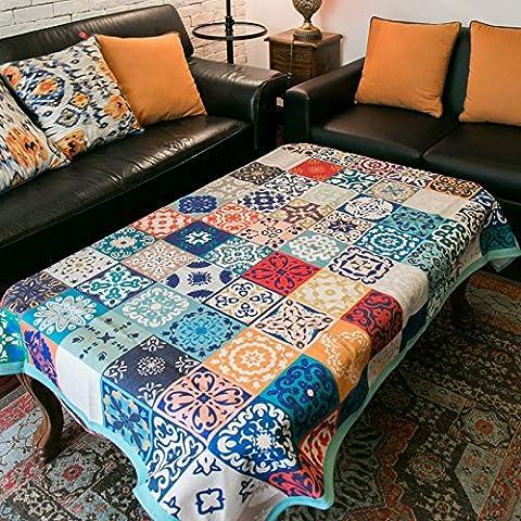 DSAAA Südostasien Stil Baumwolle und Leinen Tischdecken rechteckige Spleißen Farbe Abdeckung Tuch Blau 110*110Cm