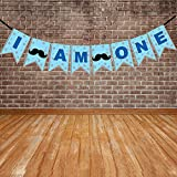 #4: Wobbox First Birthday Party Banner I am One Blue Star Party Decoration