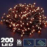 Bakaji Catena Luminosa 200 Luci LED Lucciole Bianco caldo 11,5 Metri con Controller 8 Funzioni per uso Interno, Luci di Natale Cavo Verde Decorazioni per Albero di Natale