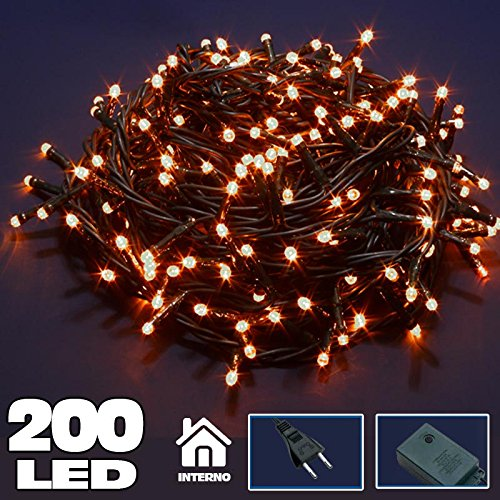 Bakaji Lighting Catena Luminosa 200 Luci LED Lucciole Bianco CALDO con Controller 8 Funzioni, Luci di Natale, Cavo Verde, Luci per Albero di Natale