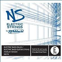 Addario D'NS714 elettrico-Bass Cello singolo corda 'E'di misura media in acciaio ritorto nucleo