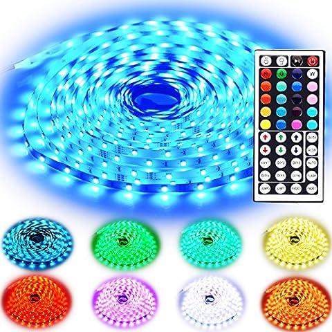 Rxment LED Streifen Beleuchtung 10M 32.8 Ft 5050 RGB 300 LED Flexible Farbe wechselnden Komplettpaket mit 44 Tasten IR-Fernbedienung, Kontrollbox, 24V 3A Netzteil für Heim