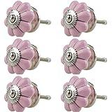 Keramiska möbelknoppar blandade set 6 st 054GN silver pumpa blomma rosa - handmålad porslin låda drar skåpknopp handtag - Jay