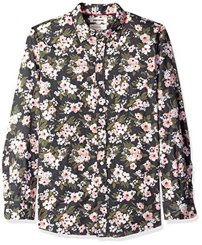 Goodthreads Herren Regular-Fit-Hemd aus Popeline mit langen Ärmeln und Print, Schwarz (black wallpaper floral print), Gr. Large