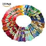 Cisixin 100 Matassine 8m Cotone Fili da Ricamo di Assortiti Colori Sewing Threads