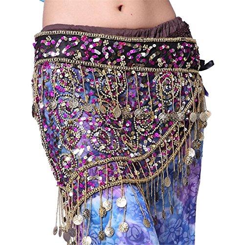 Bauch Tanzen Wrap Belt Hip Scarf Skirt With Triangle 150 Coins Sequins Tassels Costume (Genie Kostüme Billig)