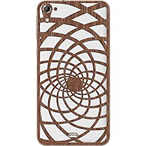 Inkdad HTC One E9s Illusion Pattern Art cut-out on Pure Laural Wood Skin (Brown)