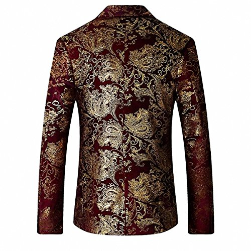 GOMY Slim Fit Herren Bunter Sakko Muster Casual Blazer Jacke Hochzeit Party Rot