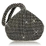 JIAN YA NA Frauen Damen Abend Clutch Bling Glitter Geldbörse Dreieck Design Hochzeit Geldbörse Handtasche für Party Prom (Schwarz)