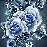 5D Stickerei Gemälde Strass eingefügt DIY Diamant Malerei Kreuzstich 3D Mit Steinen Katze Full Vollbild Diamond Groß Bild Kinder Rose Blumen (25*25cm, C)