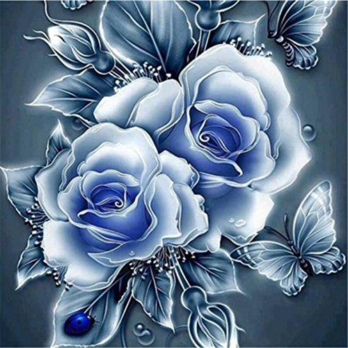 5D Stickerei Gemälde Strass eingefügt DIY Diamant Malerei Kreuzstich 3D Mit Steinen Katze Full Vollbild Diamond Groß Bild Kinder Rose Blumen (25 * 25cm, C) -