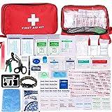 Botiquín de Primeros Auxilios de 200 Piezas,con Hielo, Manta de Emergencia,Máscara de RCP, Survival Tools Kit Bolsa Médica Emergencias para Coche, Hogar, Camping, Caza, Viajes, Aire Libre o Deportes
