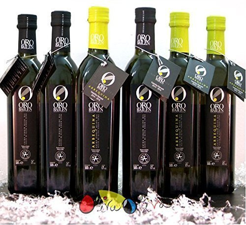6 botellas 500 ml (3 picual + 3 arbequina) - Oro Bailen Reserva Familiar - Aceite de oliva virgen extra...