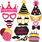 Hand Made Party Props For Birthday Party – Suitable For His Or Hers Birthday Celebration Photo Booth Props For Birthday . 15 Piece Kit Includes Various Colors Of Mustache,Glasses Frames,Lips,Crown,Pipe,Eyes,Hat And Happy Birthday Sign