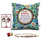 Raksha bandhan Rakhi Gifts Hamper Designer Crystal Rakhi for Brother & Happy Raksha bandhan Greeting Card Bro May All Your Wishes Come True Quote Printed Blue Cushion Cover 12x12 with Filler - Gifts For Big Brother Bhai on his Birthday Anniversary bhaidooj