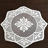 The Home Talk Set Of 12 Pcs Lace Placemat, Best For Dining Table/Bedside Table, Center Table, 14 Inch Round- White
