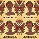 ABAKUHAUS Afrika Stoff als Meterware, Frau Turban Palmen