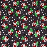 Jersey Stoff-Santa auf Grau Weihnachten-0,5m