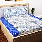 Story@Home 152 TC 100% Cotton Classic Elegant Abstract Pattern 1 Pc Double Bedsheet with 2 Pillow Covers White