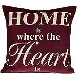 Kissenhülle Kissenbezug Dekokissen 45x45 cm Kissen Hülle Bezug (Home Heart - Weinrot)