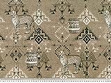 Dekostoff, Digitaldruck, afrikanische Motive, braun, 140cm