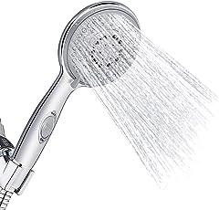 Duschkopf Handbrause, Vegena 5 Strahlarten Hochdruck Handheld Brausekopf Dusche Wasserhahn Filter, Wassersparend Duschbrause Dusch Kopf mit Antikalk-Funktion und Wasserstoppfunktion, Chrom