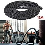 Amzdeal Cuerda de Batalla del cuerpo deporte ejercicio o formación, battle rope para fitness y crossfit(38mm*15m)
