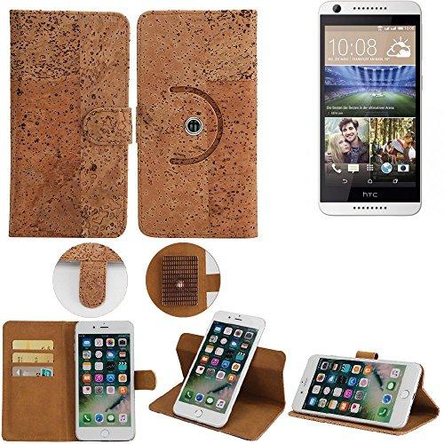 K-S-Trade Schutz Hülle für HTC Desire 620G Dual SIM Handyhülle Kork Handy Tasche Korkhülle Schutzhülle Handytasche Wallet Case Walletcase Flip Cover Smartphone