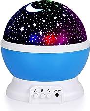 TECHVIDA Kids Star Night Light, 360-Degree Romantic Rotating Star Moon Sky Projector Night Projector Light Lamp Colors Changi