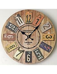 MIWEN Nuevo Reloj de Pared Retro Europeo de Madera Maciza. Color Decorativo Digital en Pared