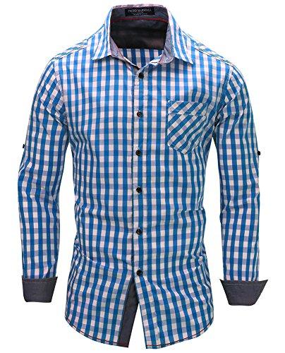 Kuson Herren Kariert Hemd Slim Fit Bügelleicht Doppelfarbig Hemden Karo Hemd Blau XL