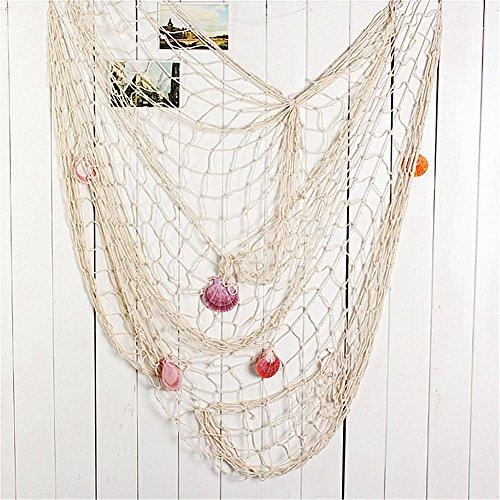 Yiuswoy Baumwolle Deko Fischernetz mit Muscheln Dekorative Netze Fotografie Prop Wandverzierung für Zimmer, Hochzeit, Party, Fotografie - Weiß