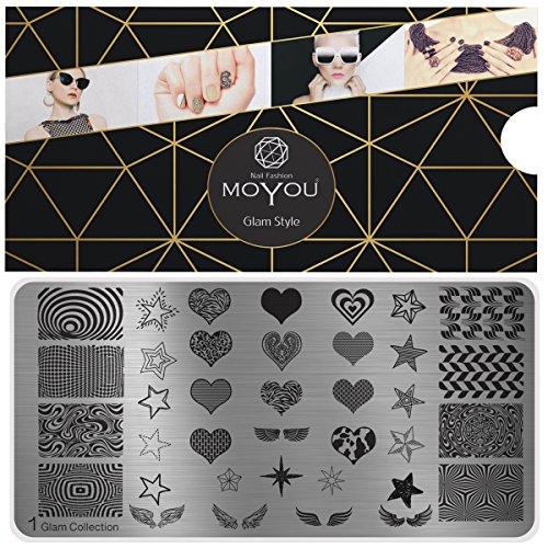 MoYou Glam Collection 1 Piastre XL, per Stamping, Nail Art, Cuori, Stelle e Decorazioni Integrali per le Unghie