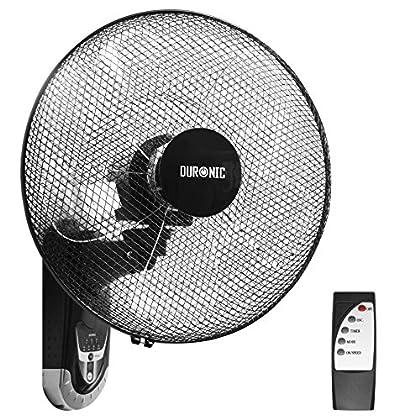 Duronic FN55 Ventilador de Pared 5 Aspas Hélice de 40 cm y 60 W de Potencia - Oscilante - 3 Velocidades - Mando a Distancia - Temporizador