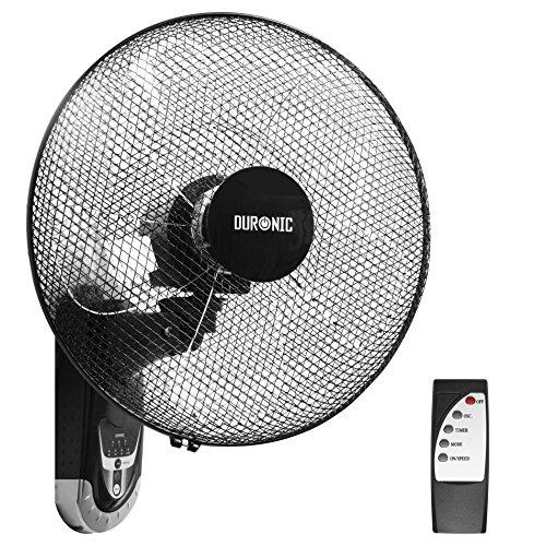 Duronic FN55 Ventilateur Mural oscillant de 60W - 5 Pâles de 40 cm - Télécommande/Minuterie / 3 Vitesses - Moteur Puissant et Silencieux - Support Mural Coulissant montable démontable à la volée