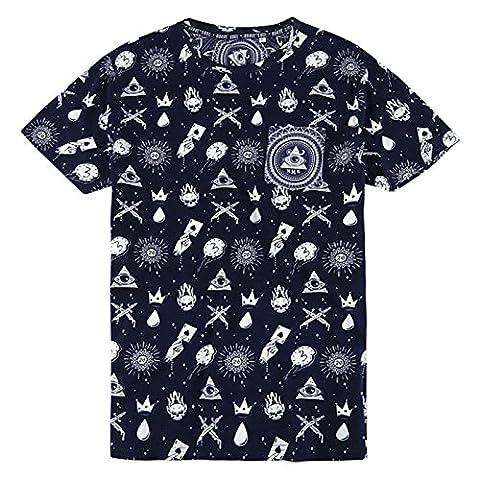 Hommes Brave Soul Tatiana Mauvais Œil Imprimé T Shirt T-shirt Manches Courtes Haut - Marine - Blanc, Medium - Torse 96cm-101cm