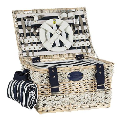 Les Jardins de la Comtesse - Picknickkorb Marine - Komplett/2 Personen - Kühlfach -  Keramikteller und Weingläsern/einer wasserdichten Tischdecke - Gestreifter stoff blau und weiß - 40 x 28 x 23 cm (Stoff Picknick-tischdecke)