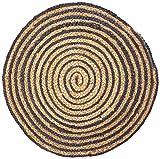 Chickidee Homeware handgewebter und geflochteer Teppich, rund, klein, blau
