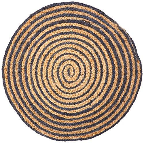 Tejido a mano de hogar chickidee arena y trenzado yute alfombra redonda, azul, pequeño