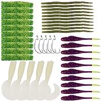 Wenquan,40pcs / Kit Gusano de Pesca señuelo Bass Bait Fish Hook Tackle(Color:Multi)