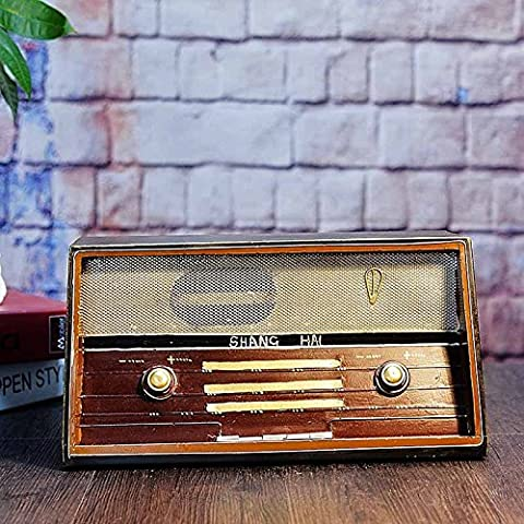 COLLECTOR-COLLECTOR-COLLECTOR-Photography props bar table window displays wrought iron ornaments crafts vintage radio model 31*15*18.5CM