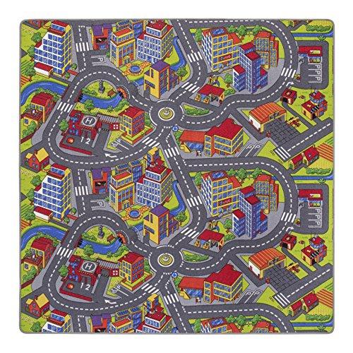 misento Kinderteppich Spielteppich Straßenteppich 200 x 200 cm Spielmatte im Strassendesign Kleinstadt Auto Spielunterlage Spielmatte Kinderzimmer schadstoffrei