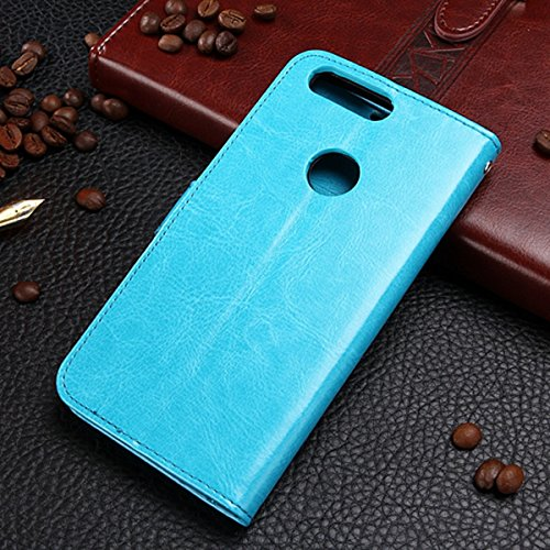 EKINHUI Case Cover Huawei Honor 8 Fall feste Folio magnetische Design Flip Brieftasche Stil Fall Farbmuster PU-Leder-Abdeckung Standup-Abdeckungsfall für Huawei Honor 8 ( Color : Brown , Size : Huawei Blue