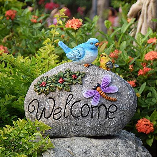 Figurines para jardín, Flor de ave Letrero de bienvenida Accesorios de jardín Resina Esculturas de animales Decorativos for el hogar Oficina Patio exterior Patios Villa para Jardines en Miniatura