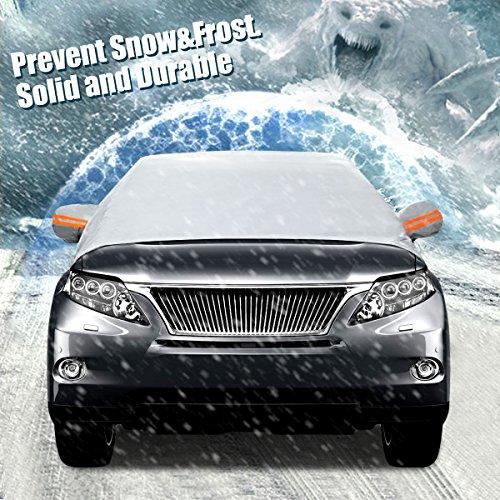 Audew Frontscheibe Auto Sonnenschutz Windschutzscheibe Auto Anti-Schnee Halbgarage Winterschutz Eisschutzfolien mit Spiegel Schutz (Zwei Größe)