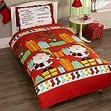 Just Contempo - Set copri piumino bambini, motivo: lista Babbo Natale, colore: rosso, Red, Singolo