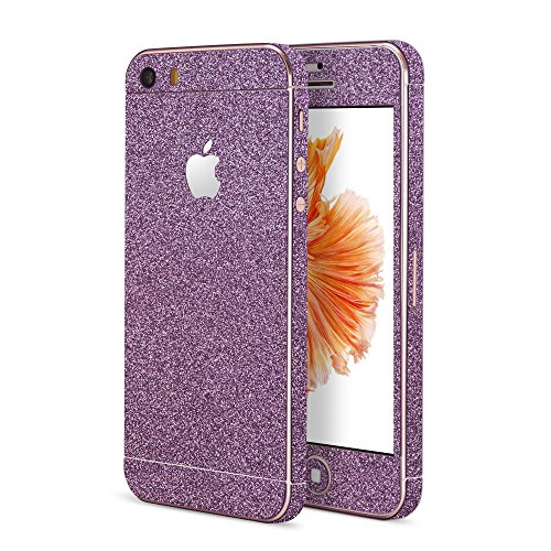 OKCS®Premium Glamoures Sticker für das Apple iPhone 5, 5s, 5c Skin Glitzerfolie Protector Folie Schutzfolie Slim Sticker Film Purple Rain